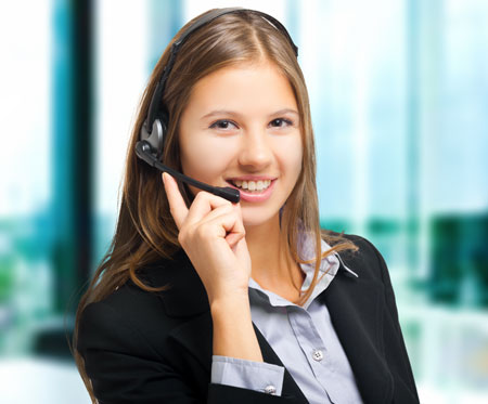 Business woman wearing a headset.